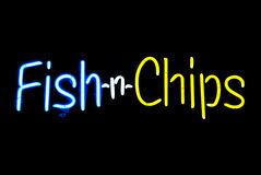 Fish n Chips Neon Sign Stock Images
