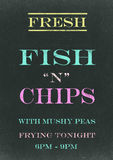 Fish N Chips. On Scratched Chalkboard Stock Photo