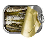 Fish, Natural Omega 3. Natural Omega 3, Canned Fish on White Background Royalty Free Stock Photography