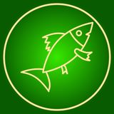 Fish in a neon circle. Easter. Neon icon. Neon sign. Effect of neon glow. Vector Image Stock Image