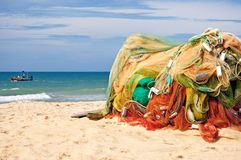 Fish net. A fish net on a beach Stock Images