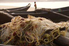 Fish net on a boat Stock Images