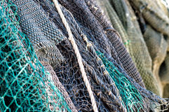 Fish Net. Drying in the sun stock image