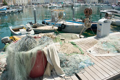 Fish nets in the harbor Royalty Free Stock Photos