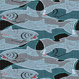 Fish in a network. Abstract fish in a network. Seamless pattern. Illustration. Vector Stock Image