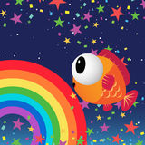 Fish in the night sky. With rainbow and stars Stock Image