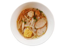Fish Noodles : Big line, Fish Balls, Fish Line in White Bowl.  Royalty Free Stock Images