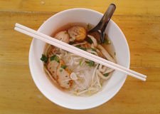 Fish Noodles : small line, Fish Balls, Fish Line in White Bowl.  Stock Photos