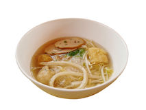 Fish Noodles : small line, Fish Balls, Fish Line in White Bowl.  Royalty Free Stock Photos