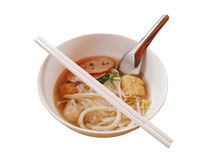 Fish Noodles : small line, Fish Balls, Fish Line in White Bowl.  Stock Photography