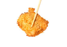 Fish nugget with chopsticks isolated on white Stock Images
