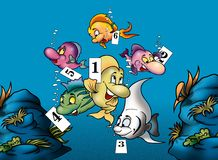 Fish and Numbers. Cartoon Background Illustration, Bitmap Royalty Free Stock Images