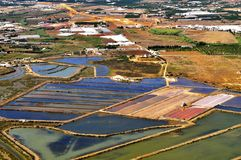 Fish nurseries. Aerial view of part of the fauna and flora labor camps in Ria Formosa, Portugal Stock Photo