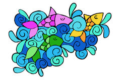 Fish in the ocean. Design with colorful fish in the ocean Royalty Free Stock Images
