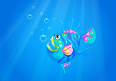 A fish in the ocean with sharp pointed fangs. Illustration of a fish in the ocean with sharp pointed fangs Royalty Free Stock Image