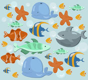 Fish ocean Summer pattern. Blue color Vector. Fish ocean Summer pattern underwater Vector illustration Royalty Free Stock Images