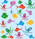 Fish and octopus pattern Royalty Free Stock Image