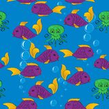Fish and octopus. Seamless cartoon pattern with fish and octopuses. Vector illustration Royalty Free Stock Image