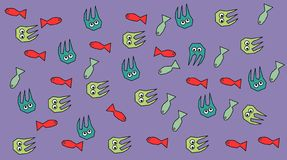 Fish and octopuses. The minimalist pattern of fish and octopuses Stock Photos