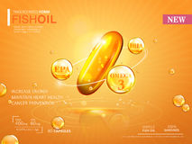 Fish oil ads template. Omega-3 softgel isolated on chrome yellow background. 3D illustration Stock Photos
