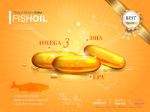 Fish oil ads template. Omega-3 softgel isolated on chrome yellow background. 3D illustration Stock Photography