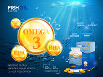 Fish oil ads template. Omega-3 softgel with its package. Deep sea background. 3D illustration Stock Photo