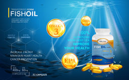 Fish oil ads template. Omega-3 softgel with its package. Deep sea background. 3D illustration Stock Photos