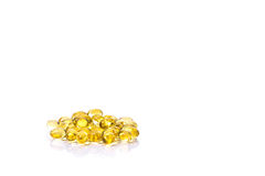 Fish oil capsule, Omega 3-6-9 fish oil yellow soft gels capsules Stock Photography