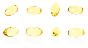 Fish oil capsules isolated on white background Royalty Free Stock Photo
