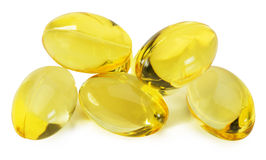 Fish oil capsules isolated on white background Stock Photo
