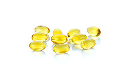Fish oil capsules isolated on the white background Royalty Free Stock Image