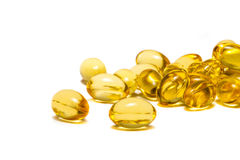 Fish oil capsules isolated on white background Royalty Free Stock Photos
