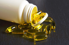 Fish oil capsules Stock Photography