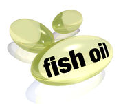 Fish Oil Capsules Omega-3 Fatty Acid Pills  Preventing Disease. Three yellow fish oil capsule pills for consumption by health consicous people, containing omega Royalty Free Stock Photography