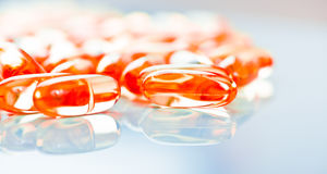 Fish oil capsules Stock Image