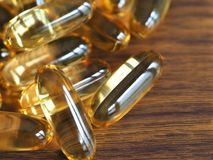 Fish Oil Capsules, Omega-3 Supplements Stock Photo
