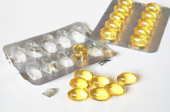 Fish oil capsules Royalty Free Stock Photo