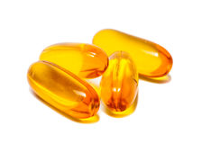 Fish oil capsules  on white Stock Images