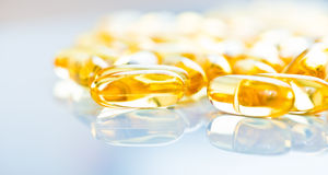 Fish oil capsules  on white background Stock Photography