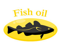 Fish oil. Cod in the pill. Vector illustration Stock Photos