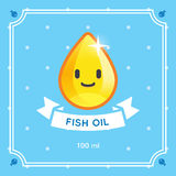 Fish Oil Label. Cute fish oil droplet character label. EPS 10. CMYK. Transparencies Royalty Free Stock Photography