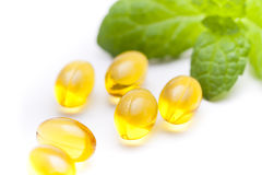 Fish oil nutritional supplement capsules Royalty Free Stock Image