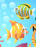 Fish Oil Painting. Oil painting with lively clown fish in blue water background, enjoy freedom and peaceful life Royalty Free Stock Images