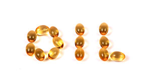 Fish oil pills Stock Photography