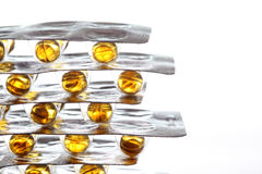 Fish oil pills on white background Stock Images