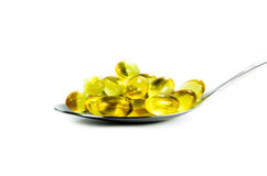 Fish oil in the spoon Royalty Free Stock Images