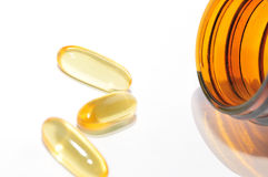 Fish Oil supplements. Fish oil rich in omega 3 Royalty Free Stock Photo