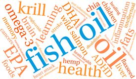 Fish Oil Word Cloud. On a white background Stock Photography