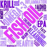 Fish Oil Word Cloud. On a white background Stock Photos