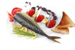 Fish olives and red caviar Royalty Free Stock Images